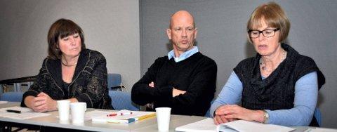 UTFORDRENDE: Divisjonsdirektør Gunn Gotland Bakken, administrerende direktør Morten Lang-Ree og prosjektleder Ingerlise Ski presenterte deler av den krevende budsjettprosessen for pressen. Divisjonen psykisk helsevern har betydelige utfordringer. FOTO: HANNE MAREN TORPEN HOKSTAD