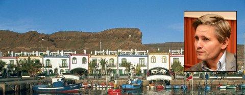 Ferieidyllen brutt: En gasslekkasje førte til en eksplosjon ved et hotell på Gran Canaria onsdag formiddag. Bernhard Caspari fra Kongsvinger og kona Nina var vitner til den dramatiske hendelsen.