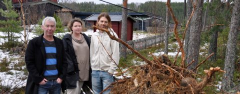 STRØMLØST: Per Eriksen, Linda Zetterdahl Hagen og Øystein Hagen har måttet klare seg uten strøm i flere dager etter at hundrevis av trær gikk over ende på Nedre Kilemoen.