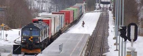 ... før vedkommede krysser sporet og fortsetter i retning det ventende toget som står stille på sidesporet...