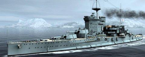 MAJESTETISK: Det britiske slagskipet «Warspite».