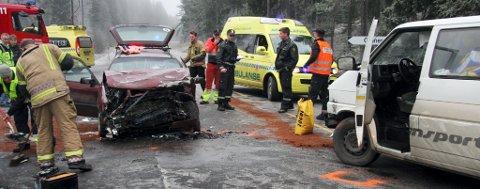 FRONTKOLLISJON: De to bilene kolliderte front mot front på fylkesvei 209.