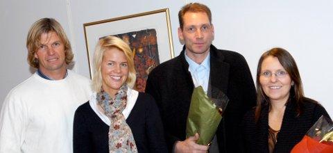 Bjørn Maaseide og Bente Widding fra Norges Idrettsforbund, Geir Knudsen og Hanne Steen fra Øksil.