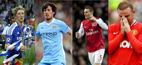 Fernando Torres, David Silva, Thomas Vermaelen og Wayne Rooney.