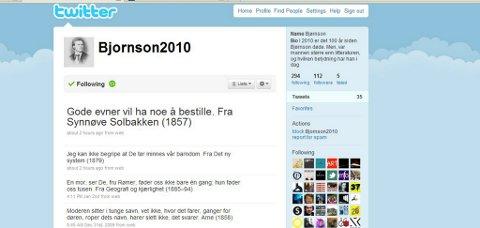 Bjørnson har tatt steget inn i den nye tid - hvertfall nye medietid med egen twitterkonto.