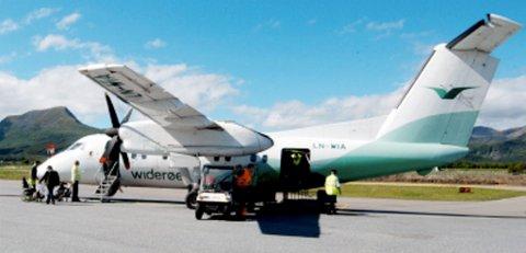 Widerøefly på Stokmarknes lufthavn, Skagen. (Illustrasjonsfoto)