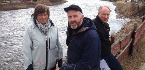 NATUR: Sigrun Taugbøl Aasen, Grim Jardar Aasgård og Per Urseth mener at naturperla Glomma ikke er til salgs for fire-fem millioner kroner årslig. (Foto: Erland Vingelsgård)