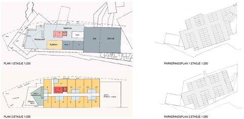 Kritt arkitekter og Østengen  & Bergo landskapsarkitekter står bak tegningsmaterielet  knyttet til Holmensatsningen. men dette materiellet vil bli  gjenstand for vurderinger underveis. Denne tegningen viser 1. og 2. etasje i hotell og parkeringshus.