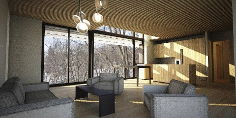 Slik ser arkitekt  Anne Marie Grimsrud for seg at passivhusene hun planlegger vil se ut inni.
