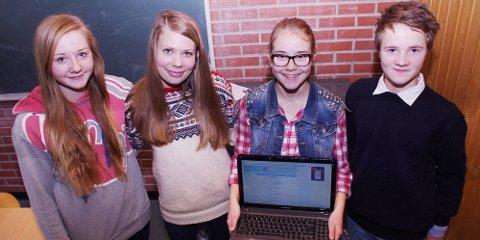 Nora Frøshaug, fra venstre, Liv Eline Larsen, Vilde F. Forfang og Ole Henrik Østreng Nes utgjør gruppa Bezzerwisserene. De ligger på femte plass før siste runde.