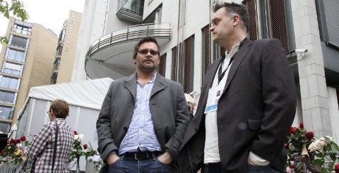 Formidabel innsats. Børre Lekang (t.v) får prisen for sin innsats for pårørende etter 22. juli-terroren. Her i Oslo sammen med Geir-Arne Jørgensen i forbindelse med rettssaken. Foto: Rune Grønlie
