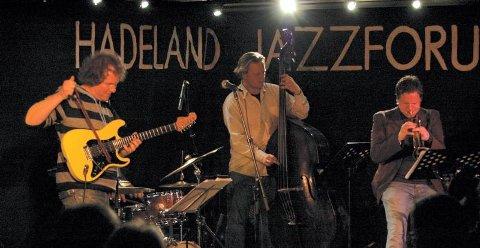 JAZZ PÅ HUSET: Frode Barth (fra venstre), Harald Johnsen og Per Willy Aaserud ga hadelandspublikummet en flott konsert. FOT: HÅVARD LUND