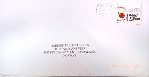 Brevet er postlagt i Malaga i Spania, og adressert til Asbjørn Falleth Bryhn i Fyllingsdalen.