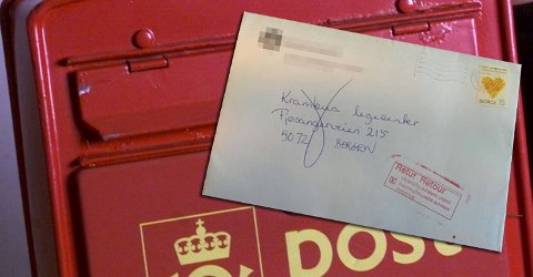 Brevet skulle til Fjøsangerveien 215, der Krambua legesenter holder til. Men de har postnummer 5073, ikke 5072. Det ble for mye for Posten, som sendte brevet i retur og stemplet det med at adressen var helt ukjent for dem.