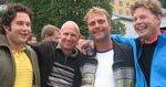 Fire lakseoppdrettere feiret dagen med båttur og deretter Stones-konsert. Fra venstre Robert Johannessen, Joar Størksen, Wilfred Wage og Roar Espevold. - Jeg har vært fan siden jeg var pitteliten, forteller Wilfred.