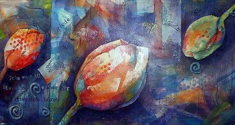 BILLEDKUNST: Marit Skog har laget dette maleriet i akryl og collage.