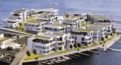 Holmenprosjektet slik det er presentert i rammesøknaden fra Kritt arkitekter as. Nå har Solsiden 1 as bedt kommunen om at søknaden legges til side.