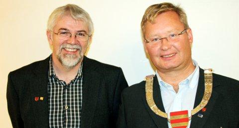 Jon-Olav Strand (KrF) fra Risør ble valgt til ny fylkesvaraordfører, og Bjørgulv S. Lund (H) ble valgt til ny fylkesordfører under det konstituerende møte i fylkestinget tirsdag. Foto: Svein Buer.