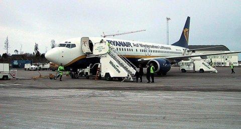 Det var her på Torp kapteinen på flyet valgte å holde passasjerene tilbake. Dette bildet er tatt ved en tidligere anledning.