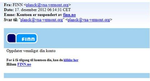 Et eksempel på de mange svindelmailene som sendes i finn.no sitt navn.