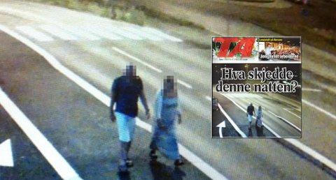 Her blir den siktede politimannen og kvinnen filmet i område rundt Breviksbrua natt til lørdag.
