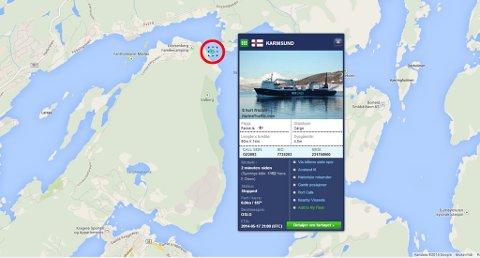 Bildet viser hvor Karmsund har gått på grunn. Kartet viser også at slepebåten Evis er på stedet.
