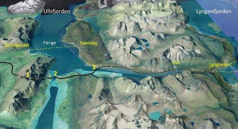 ULLSFJORDFORBINDELSE: Fergeavløsningsmidler kan være med på å finansiere en fergefri Ullsfjordforbindelse.