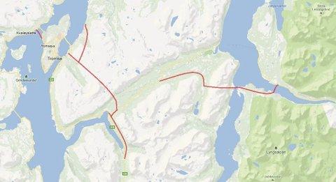 FLERE PROSJEKTER: Både ny E8, Tindtunnel med avstikker til Tønsnes havn, ny Kvaløyforbindelse, ny vei på Breivikeidet og ny Ullsfjordforbindelse er med. Alle skisser: Tromsø Høyre