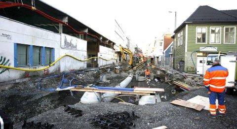 Slik så det ut i Nøstegaten under gravingen i oktober 2009.