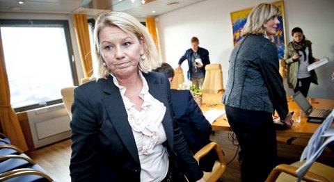 Byrådsleder Monica Mæland etter byrådets hastemøte torsdag ettermiddag.