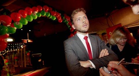 Audun Lysbakken under valgvaken til Sosialistisk Venstreparti (SV) på Rockefeller i Oslo mandag kveld.