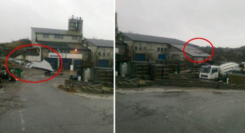Taket ble flerret av på den ene delen av bygget og slynget over på den andre siden (26.12.2011).