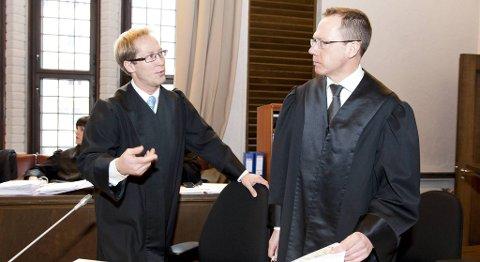 Rudolf Christoffersen og Arild Oma er aktorer i menneskehandelssaken som startet mandag.