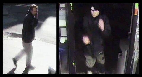 Disse to mennene etterlyses av politiet etter to grove ran i Christies gate. Det første bildet er av mannen som ranet kiosken 8. mai i år, mens det andre bildet viser mannen som ranet 7-eleven 29. mars på vei inn i kiosken.