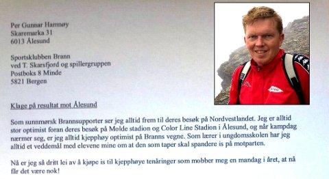 Per Gunnar Hamnøy fra Spjelkavik er lei av at Brann alltid taper når de gjester Sunnmøre. Nå krever han kompensasjon i form av ispenger for tapte veddemål.