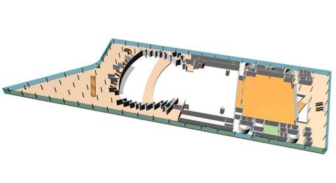Det er dagens Peer Gynt-sal, til høyre på bildet som er foreslått bygget om til et musikkteater. Hovedsalen til venstre på bildet.