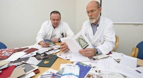 Kreftlegene Øystein Fluge og Olav Mella har neppe fått så mange julekort som i år før.