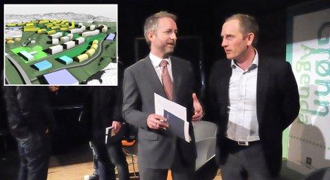 Kjetil Helland i Bybo (til høyre) har fått grønt lys til å starte byggingen av mellom 500 og 800 miljøboliger i Blomsterdalen.