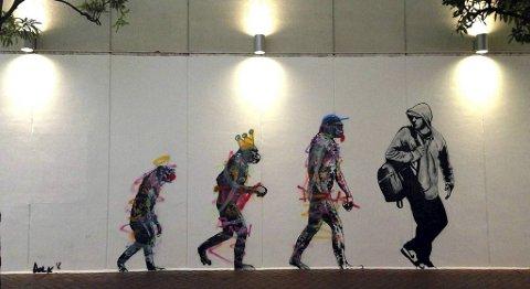 Dolk laget denne versjonen av «Evolution» på en vegg i shopping-bydelen Shibuya i Tokyo i fjor.
