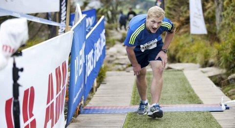 Marius Stenfelt (21) nådde også toppen av Stoltzekleiven lørdag.