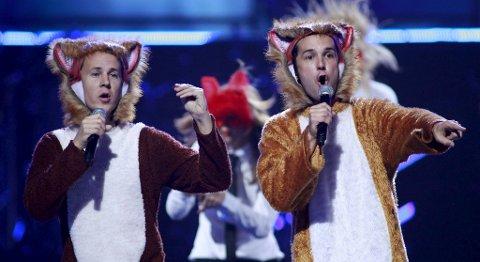 Bård og Vegard Ylvisåker på show i Las Vegas sist de var i USA.