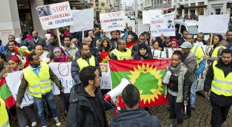 Lørdag ettermiddag demonstrerte etiopiere mot mishandlingen av opposisjonelle i hjemlandet.