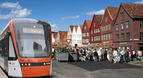 Slik ville det kanskje sett ut om Bybanen hadde gått over Bryggen Montasje: BA