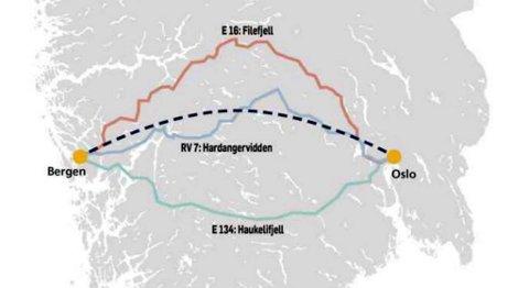 Det ble i 1978 bestemt at stamveien mellom Bergen og Oslo skulle være E16 over Filefjell. Den er fortsatt stamvei og i løpet av 2017 kommer den til å være vesentlig utbedret over store deler av strekningen. Rv 7 over Hardangervidden er alternativ nummer to som ble presentert på konferansen, E 134 er det sørligste alternativet.