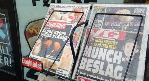 Slik så Dagbladet-forsiden ut i kiosken i Valkendorfsgaten i Bergen.