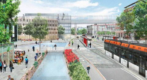 Slik ser visjonen for en transformert Mindemyr ut. Bybanen betjener området i forbindelse med den nye traseen som skal bygges mellom sentrum- Haukeland-Fyllingsdalen.