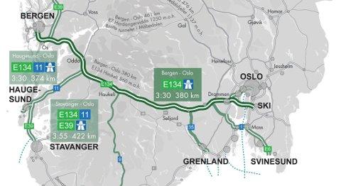 Tre og en halv time fra Oslo til Bergen kan gi grunnlag for busstrafikk i stedet for fly, mener tilhengerne. Særlig er tilkoblingen til kyststamveien (E39) interessant, mener professor Dag Bjørnland.