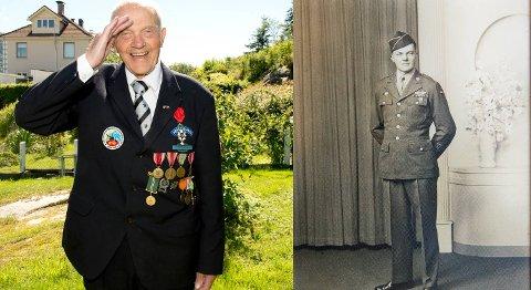 John Pettersen (99) blir hedret av den franske stat for innsatsen i Franrike under 2.verdenskrig. Bildet til høyre er denav  unge soldaten av John .