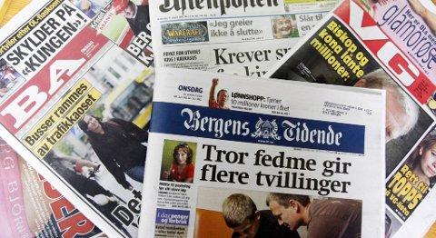 Bare BA, VG, Aftenposten og BT gir ut papiraviser på søndager her i landet.