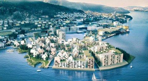 Slik ser Marin Eiendomsutvikling AS for seg at den nye bydelen på Laksevåg kan se ut.